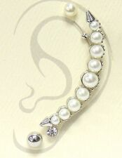 Silver White and Crystal Faux Pearl Spiked FASHION Ear Cuff