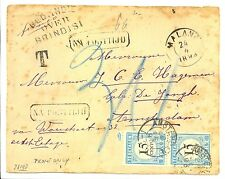 NEDERLAND 1893 2 x 15 C. POSTAGE DUE ON COVER (FRONT ONLY) FROM MALANG FINE