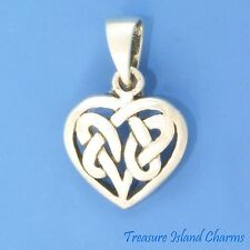 HEART WITH CELTIC FILIGREE ENDLESS KNOT .925 Solid Sterling Silver Pendant LOVE