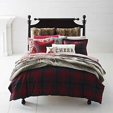 Cozy Merry Queen/Full Duvet Cover Set, Black Red Plaid, Christmas Holidays