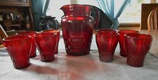 VINTAGE ANCHOR HOCKING ROYAL RUBY WINDSOR PATTERN 9 PC WATER PITCHER & TUMBLERS