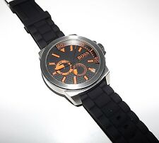 NEW HUGO BOSS MEN'S ORANGE NEW YORK WATCH WITH BLACK RUBBER BAND 1513011