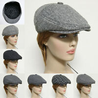 Gatsby Newsboy Cap Wool Acylic Men Women Ivy Hat Golf Flat Cabbie Black Gray New
