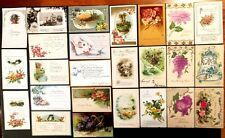 LOT OF 25 VINTAGE EARLY 1900s BIRTHDAY GREETINGS POSTCARDS