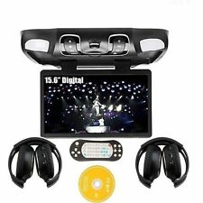 "15.6"" Car Ceiling Roof Mounted Flip Down Monitor Screen DVD Player +IR Headphone"