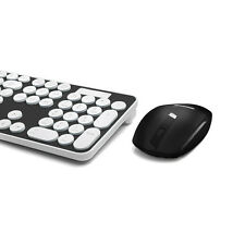 BLACK Rounded Retro Key Wireless 2.4GHz Keyboard and Mouse For Computer & Laptop