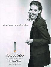 PUBLICITE  ADVERTIS  1998   CALVIN KLEIN parfum CONTRADICTION CHRISTY TURLINGTON