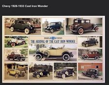 """Chevrolet 1928-1933 Cast Iron Wonder History"""" Extremely Rare! Car Poster OWN IT"""