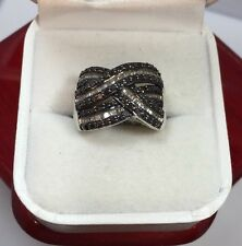 WoW Sterling Silver 1 Ct Black Diamond Pave Cigar Wedding Wide Band 925 Ring 7