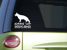 German Shepherd Ears Up Systems Armed *I862* 6x6 inch sticker schutzhund decal