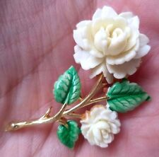 "STUNNING VINTAGE ESTATE SIGNED JJ CELLULOID FLOWER 1 3/4"" BROOCH!!! 3977Q"