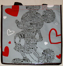 Disney Store MICKEY MOUSE LOVE Ecology Reusable Shopping Bag New Tote w/Pocket