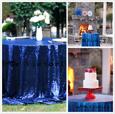 Royal Blue Sequin Table Cloth, Shimmer Sparkly Overlays Tablecloths for Wedding