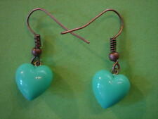 BOUCLES D'OREILLES COEUR TURQUOISE VINTAGE 1970  NEUF/ TURQUOISE HEART EARINGS