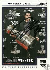Jonathan Quick Signed Auto 2012 Score Los Angeles Kings Card - COA - Stanley Cup