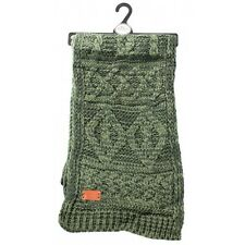 Aran Traditions Womans Ladies Men Winter Warm Knitted Style Green Scarf