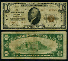 Carnegie Pa $10 1929 T-2 National Bank Note Ch #6174 Carnegie Nb Very Good+
