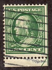 US # 331 (1908) 1c - Grade: Fine - w/Cutting Line Arrow  BENJAMIN FRANKLIN