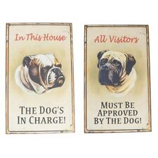 Set of 2 Funny Retro Style Dog Lovers Wall Sign Plaque Super Quirky Gift