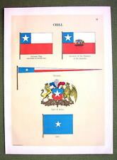 FLAGS Naval Marine Chile Chili Coat of Arms Jack - 1899 Color Antique Print
