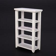 New Mini 4 Layers Display Shelf Wooden Furniture for 1:12 Scale Doll House White