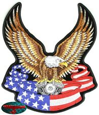 EAGLE DRAPEAU Patch Écusson Motard Bascule Adler Harley USA Club