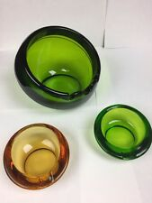 Vintage Art Deco Ashtray Large 1960s Viking Glass Round Bowl Orb Green +2 Small