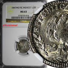 Mexico Silver 1847 Mo RC 1/2 Real NGC MS63 BETTER DATE KM# 370.9