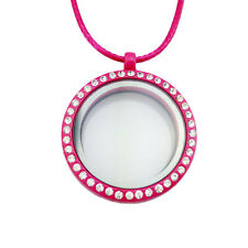 Crystal Living Memory Floating Charms Glass Round Locket Pendant Necklace