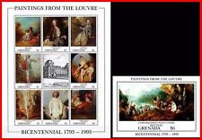 LOUVRE MUSEUM = GRENADA 1993 MNH  ** WATTEAU PAINTINGS S/S + M/S NUDE, COSTUMES