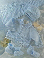 "Baby Blanket Knitting Pattern DK Jacket Hat Mittens Bootees 16-22""   397"