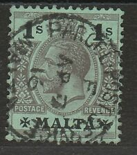 MALTA 1914 KGV 1/- WMK MULTI CROWN CA USED