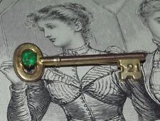 Vintage 21 21st KEY OLD SILVER LINED w GOLD COATING GREEN STONE Brooch Pin (J17)