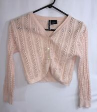Charlotte Girls Cardigan Sweater Pastel Pink Crochet Open Knit Cotton Blend - L