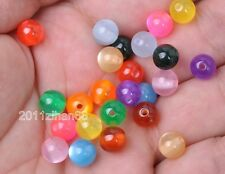 100pcs  Mix Color Acrylic Cat's Eye Round loose  bead Charms Beads 8mm