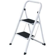 2 STEP LADDER RUBBER FEET MAT FOLDABLE HOUSEHOLD USE SHOP DIY METAL STURDY