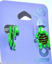CLAIRE'S  KITSCH FUN GREEN TURTLE BACK FRONT STUD EARRINGS
