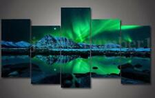 Frame Wall Painting Green Blue Modern Aurora Borealis Art Picture Canvas Print