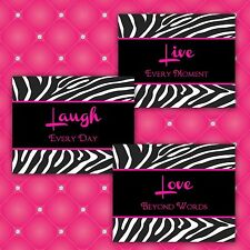 Zebra Print LIVE LAUGH LOVE 7 x 5 Home Decor or Bathroom Wall Art Prints