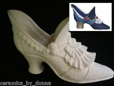ceramic shoe Victorian style lacy with beads on side you paint bisque Hand made