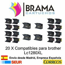 20 x compatibles Brother Non Oem LC1280XL MFC-J5910DW MFC-J6710 Lc1280bk