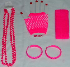 NEON GLOVES ACCESSORIES SET 80'S FANCY DRESS,COSTUME,DANCE,HEN,STAG PARTY NEW