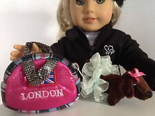 "London Carrier Purse and Pet Dog for American Girl Doll 18"" Accessories SET"
