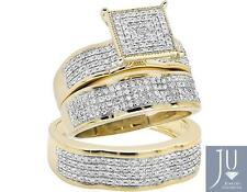 10K Yellow Gold Scallop Milgrain Diamond Bridal Trio Wedding Ring Set 1.25ct