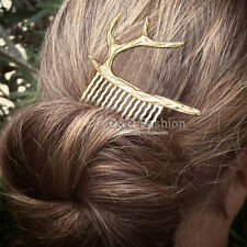 Gold Rudolph Deer Horn Elk Antler Stag Hair Pin Clip Dress Snap Barrette Comb