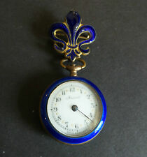 ANTIQUE GUILLOCHE COBALT ENAMEL FLEUR-DE-LIS LADIES LAPEL WATCH