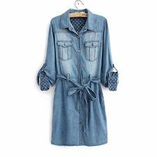 Women's Blue Jeans Casual Long Sleeve Button down Denim Shirt Dress Tops Maxi