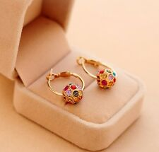 Fashion 1pair Women Rotate Lucky Beads Crystal Rhinestone Ear Stud Earring XIUK