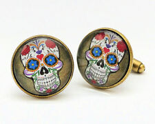 Vintage SUGAR SKULL Skull Themed Bronze MENS CUFFLINKS Great Gift - C116