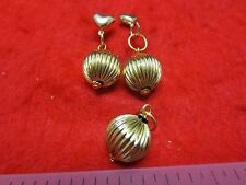 """14KT GOLD EP  FLUTED 1/2"""" BALL DROP EARRINGS WITH HEART POSTS AND PENDANT SET"""